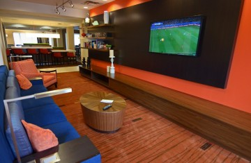 our corporate event entertainment center is shown with a huge tv.