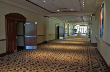 event space in Kansas City is shown as a hallway with open doors