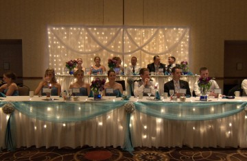 an elegant blue springs wedding reception is held in the grand ballroom